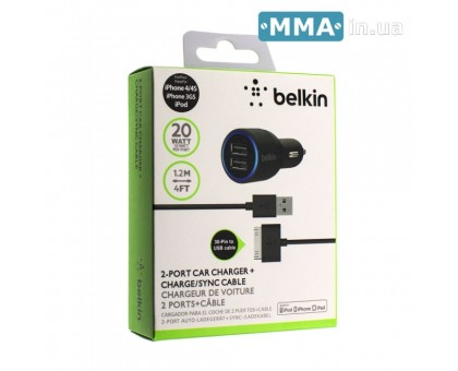Автозарядка Belkin F8J071 Iphone 4S 2 USB A