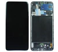 Дисплей Samsung A707F Galaxy A70s тачскрин сенсор черный в рамке OLED копия хорошего качества