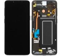 Дисплей Samsung G960F Galaxy S9 тачскрин сенсор черный в рамке Midnight Black ( рамка копия ) Amoled оригинал переклеено стекло
