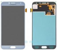 Дисплей Samsung J400F Galaxy J4 2018 тачскрин сенсор голубой Lavenda Amoled оригинал переклеено стекло