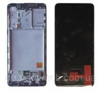 Дисплей Samsung A415F Galaxy A41 тачскрин сенсор черный в рамке Amoled оригинал переклеено стекло