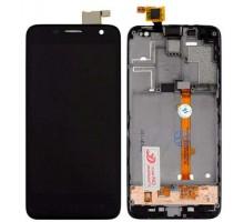 Дисплей Alcatel 6012 Onetouch Idol Mini/6012A/6012D/6012E/6012W/6012X + тачскрин (сенсор), черный, в рамке, оригинал