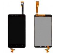 Дисплей для HTC Desire 400 Dual Sim + сенсорний екран, чорний, з передньою панеллю