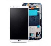 Дисплей, для LG G2 D802 / D805 + сенсорний екран, білий, з передньою панеллю, оригінал (Китай) 20-контактний