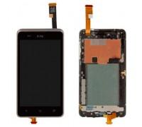 Дисплей для HTC Desire 400 Dual Sim + сенсорний екран, чорний, з передньою панеллю сріблястого кольору