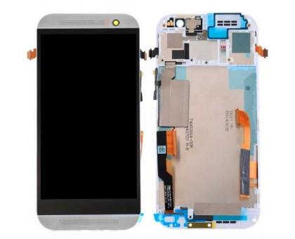 Дисплей для HTC One M8 + сенсорний екран, чорний, з передньою панеллю білого кольору