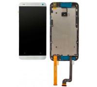 Дисплей для HTC Desire 601/601 + Dual Sim сенсорний екран, чорний, з перед панеллю білого кольору